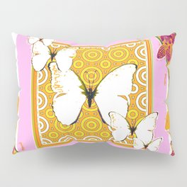 White Butterflies Orchid Sprays Purple Lilac-Gold Patterns Pillow Sham