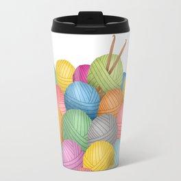 Two Crochet Hooks And A Lot Of Yarn Travel Mug