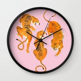 Three fierce tigers Wall Clock