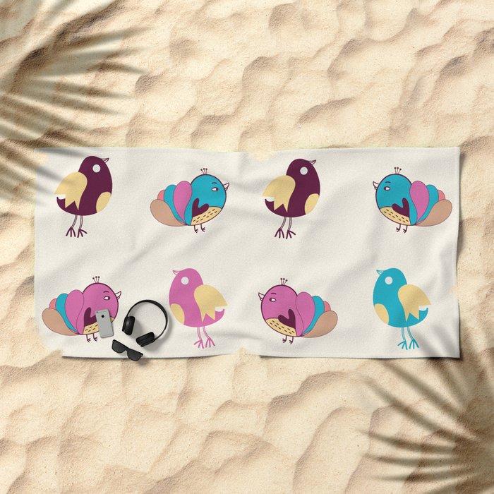 Cute Birds Pattern Beach Towel