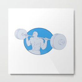 Strongman Powerlifting Barbell Drawing Metal Print