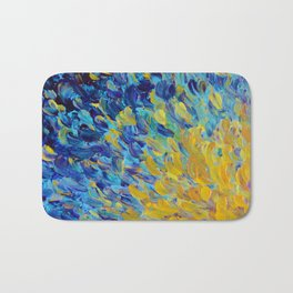 AQUATIC MELODY - Lovely Bright Abstract Ocean Waves Acrylic Painting Colorful Rainbow Beach Gift Art Bath Mat