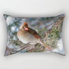 First Winter (Female Cardinal) Rectangular Pillow