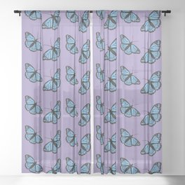 Blue viceroy butterfly Sheer Curtain