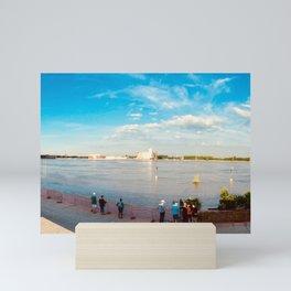 St. Louis arch riverfront flood Mini Art Print