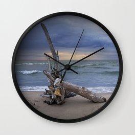 Sunrise on the Beach with Driftwood at Oscoda Michigan Wall Clock