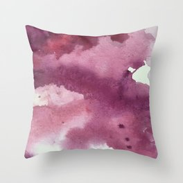 Blushing [2]: a minimal abstract watercolor and ink piece in shades of purple and red Throw Pillow
