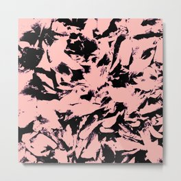 Old Rose Black Abstract Military Camouflage Metal Print