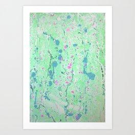 Spring Rain marbleized print Art Print