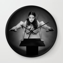 7717-MAK Flexible Nude Woman Above Pedestal Sexy Erotic Black & White Naked Art Wall Clock
