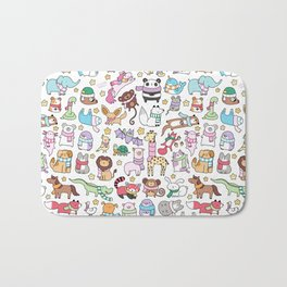 Winter Animals with Scarves Doodle Bath Mat