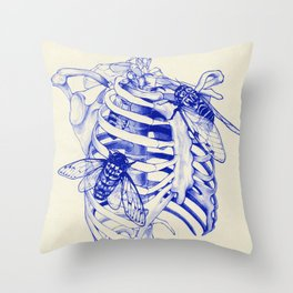 collarbone blue Throw Pillow