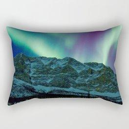 Aurora Borealis Over Mountains Rectangular Pillow