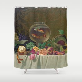 Still Life with fruit and fish bowl Shower Curtain