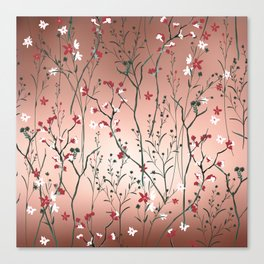 Floral, Rose Gold Sky Canvas Print