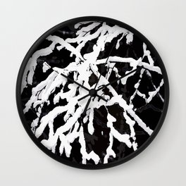 Snowy Branches On Black Background #decor #society6 Wall Clock