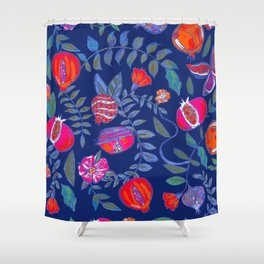 Pomegranate pattern electric blue Shower Curtain
