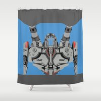 pacific rim Shower Curtains featuring Pacific Rim - Coyote Tango - Minimal Poster by John Takacs