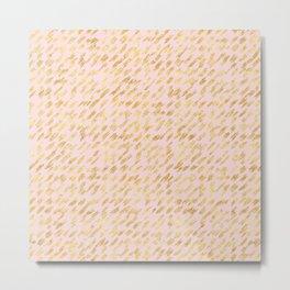 Blush Pink Gold Glitz Abstract Metal Print