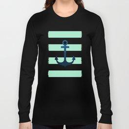 Anchor on Mint Stripes Long Sleeve T-shirt