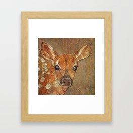 fawn in the wood Framed Art Print