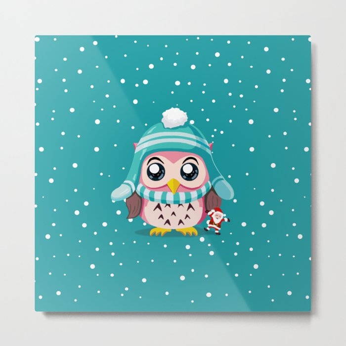 Cute Owl Holiday Metal Print