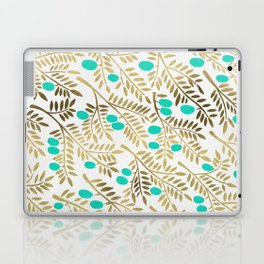 Gold & Turquoise Olive Branches Laptop & iPad Skin