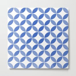 Mid Century Modern Geometric Flower Pattern Blue Metal Print