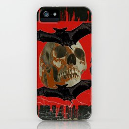 GRUNGY HALLOWEEN BAT INFESTED HAUNTED SKULL iPhone Case
