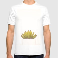 Cactus in flower pot on white background White Mens Fitted Tee MEDIUM