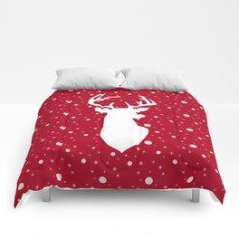 Deer on red . Comforters