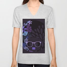Afro Diva : Sophisticated Lady Purple Lavender Unisex V-Neck