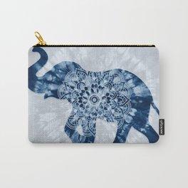 Elephant Mandala Indigo Blue Tie Dye Carry-All Pouch