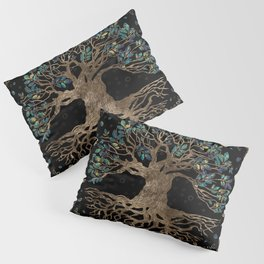 Tree of life -Yggdrasil Golden and Marble ornament Pillow Sham