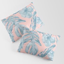 Island Life Pale Teal Blue on Millennial Pink Pillow Sham