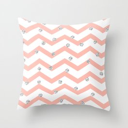 Geometrical coral white silver glitter polka dots Throw Pillow