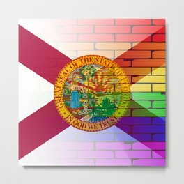 Gay Rainbow Wall Florida Flag Metal Print