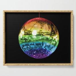 Rainbow Mirrored 1970s Disco Ball Serving Tray