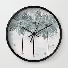 Mint Blue Watercolor Spring Flowers Wall Clock