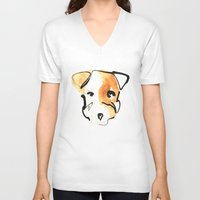 jack russell V-neck T-shirts featuring Jack Russell by Jen Moules