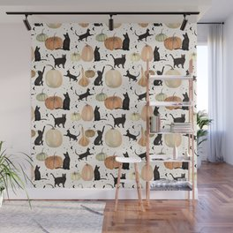 Black Cats Pumpkin Patch Fall Halloween Pattern Wall Mural
