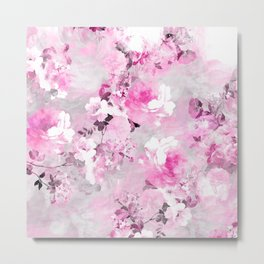 Purple grey floral watercolor romantic flowers pattern Metal Print
