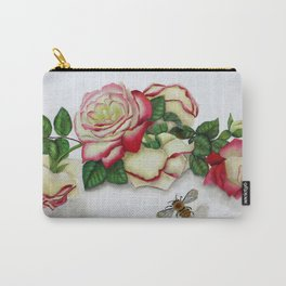 French Perfume Rose Swag Bee Art Carry-All Pouch