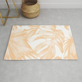 Island Vacation Hibiscus Palm Coral Rug
