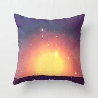 sun and moon Throw Pillows featuring sun&moon by PureCreativeEnergy