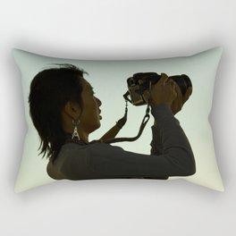 Girl with Camera  Rectangular Pillow