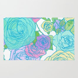 Pop Roses in Bright Preppy Colors Rug