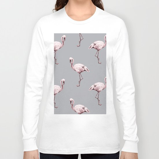 Simply Flamingo on Concrete Gray Long Sleeve T-shirt