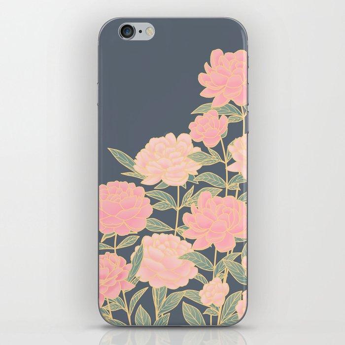 Pink peonies vintage pattern iPhone Skin
