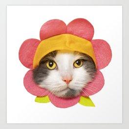 Cute Cat in a Flower Hat Art Print